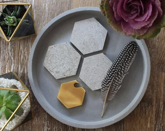 Grey Stone Hexagon Coasters
