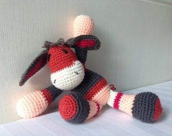 "Crochet Donkey stripped stuffed toy ""Ranty"""