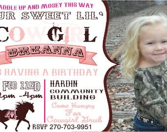 YOU PRINT!!! Cowgirl  Birthday Party invitation Customized for you !!