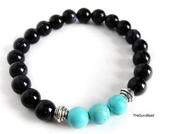 Turquoise Bracelet, Howlite Bracelet, Goldstone Bracelet, Women Bracelet, Men Bracelet, Chakra Bracelet, Yoga Mala Bracelet, Unisex Bracelet