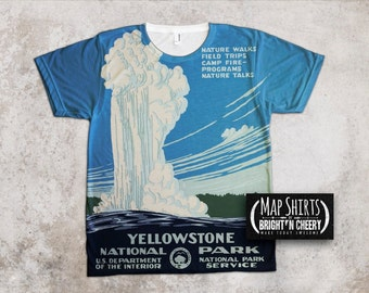 Yellowstone National Park T Shirt, Vintage WPA Poster t shirt, wyoming travel tee, outdoorsmen gift, hiking camping road trip see america