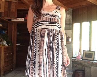 90s Tribal Mini Babydoll Dress