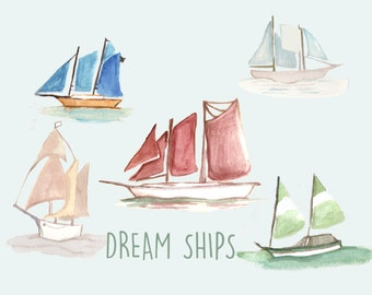 Hand Painted Water Color Clip Art - Dream Ships - Scrapbooking - WaterColor Clipart - Nautical Boats