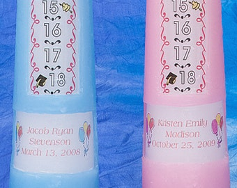 1-18 Year Traditional Countdown Birthday Candle, Personalized