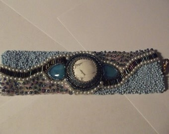 bracelet, hand beaded cuff