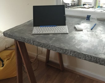 Architect Desk with Sawhorse Legs and Concrete Top