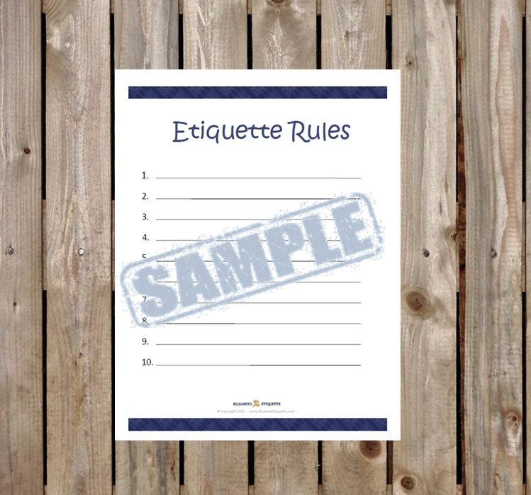 Etiquette Rules Household Etiquette Rules Classroom