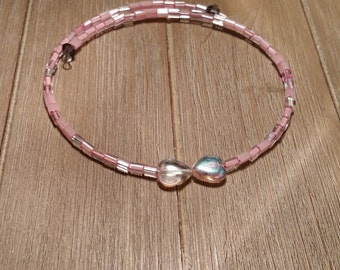 Pink Heart Beaded Wrap Necklace (#016)