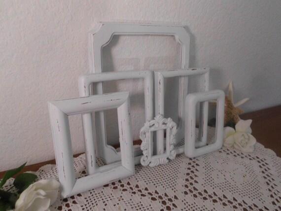 Coastal Decor Shabby Chic: White Shabby Chic Picture Frame Set Upcycled Vintage