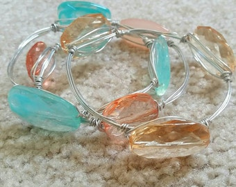 Teal we meet again wire wrapped bracelets