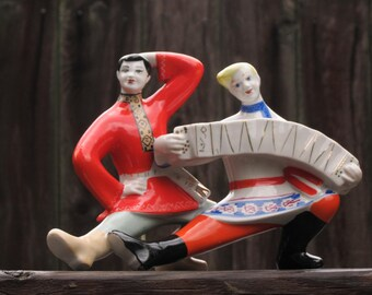 Vintage Russian Soviet rare old country traditional folk figurine porcelain ceramic musician dancer russian ethnic figurine made in Ukriane