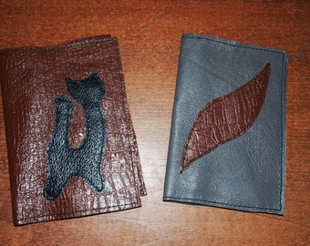 Passport cover, Leather, Handmade,cat, abstraction