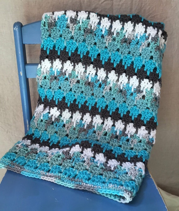 Crochet Teal And Grey Baby Blanket