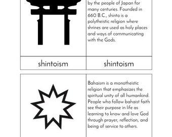 Religions of the World - Montessori Three Part Cards
