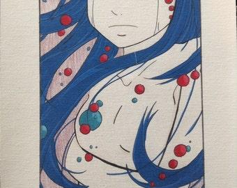 cute sad girl print of original drawing