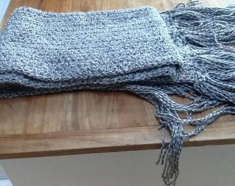 "88"" long crocheted scarf with fringe for those cold days"