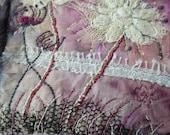 small wall art, Wild Lace embroidery on silk and canvas, textile mini art, small stitched art, Irish textile art