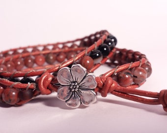 -Meditation Bracelet brown leather with Jasper stones red and Black - Leather bracelet double wrap
