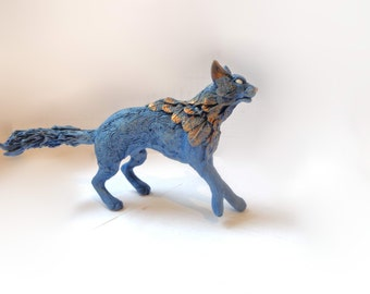 Blue Cat Figurine Spirit Cat Figurine Fantasy Cat Twilight Shamanic Style Cat
