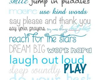 Nursery Art, Kids Rules Art, Subway Art, Word Art, Digital File, Printable, Playroom Decor, Nursery Decor - Blue