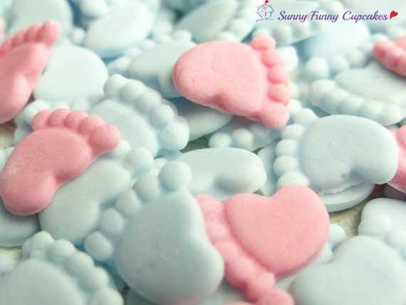 30 edible baby feet mix of pink and blue cupcake decorations for Baby feet decoration
