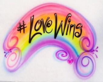 Rainbow art, rainbow airbrush t shirt, Gay pride shirt,  personalized pillowcases, love wins, gay marriage,  rainbow shirt