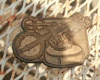 vintage bluegrass music belt buckle