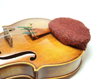 Rosewood-Color Felted Wool Chin Rest Cozy for Violin or Viola