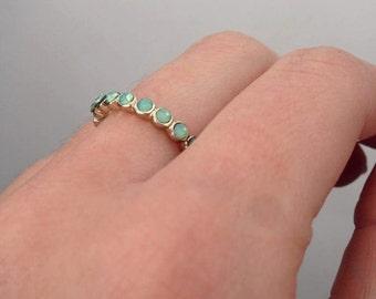 Pastel Green Opalescent Swarovski Ring