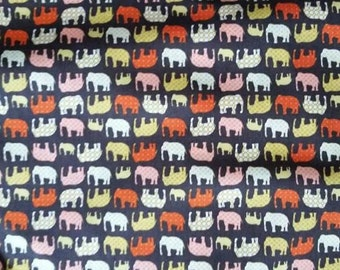 Retro Brown Yellow Orange Elephant Cotton Craft or Dress Fabric By the Meter. Quality 100% Cotton Poplin Fabric Multi Purpose Material