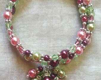 Pinks and Greens Coil Bracelet