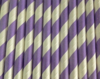 Purple and White Paper Straws (pack of 25)