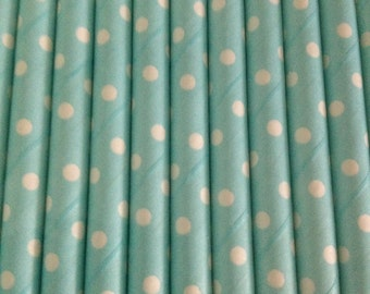Light Blue and White Spotty Straw (pack of 25)