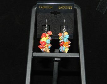 Mulitcolored Charm Dangle Earrings