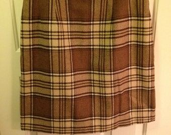 Vintage 90's Brown Plaid Skirt