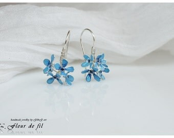 "Handmade Earrings - ""Forget me not"", Blue Earrings, Silver wire Earrings, Flower Earrings, Unique Earrings, Fashion Earrings"