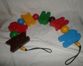 Vintage Baby stroller crib toy Denmark Cats dogs plastic ECU blue red green brown yellow