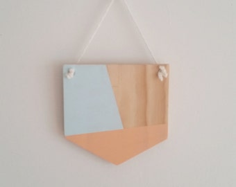 Blue and Peach Wooden Wall Hanging