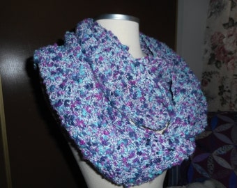 Teal, Navy, Plum and White Tweed Twisted Infinity Scarf