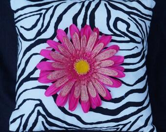 Zebra w/ Pink Flower  14x14