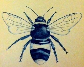 "Bumblebee on Brown 8""x10"""