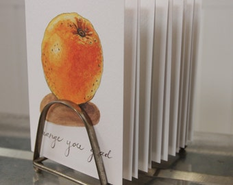 """Produce Print """"Orange You Glad"""": Artisan Watercolor and Hand Lettered Note Card"""