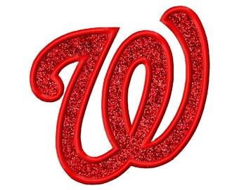 W Applique Machine Embroidery Design Florida Nationals Washington 4x4 5x5 6x6 INSTANT DOWNLOAD