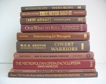 Ten Decorative Books in Rust, Deep Red & Brown for Display (props not included)