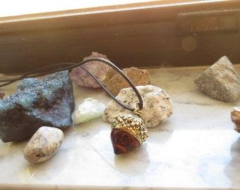 Vintage Acorn Crystal Necklace