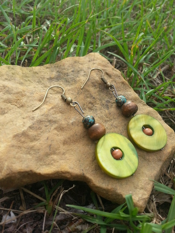 Earth Toned Green Boho Dangle Earings