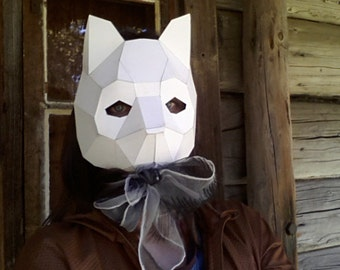 Printable mask ,Cat mask, cat costume, PDF Templates, Instant Download