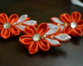 Spindle hair clip orange and three leaf / orange flower pin/clip and 3 leaves
