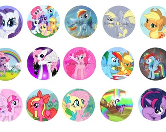 """My Little Pony - 15 Bottle Cap Images 4X6 Digital INSTANT DOWNLOAD 1"""" Circle Jewelry"""