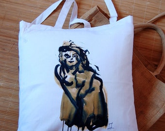 Tote Bag drawing nude woman